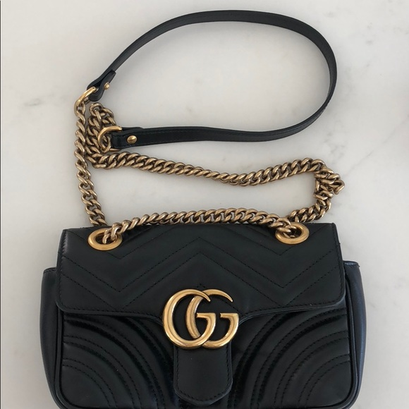 88780512052 Gucci Handbags - Gently used Gucci Marmont Mini, in Black leather.